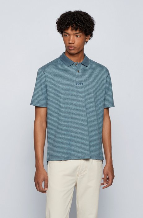 Relaxed-fit striped polo shirt in cotton and hemp, Blue Patterned