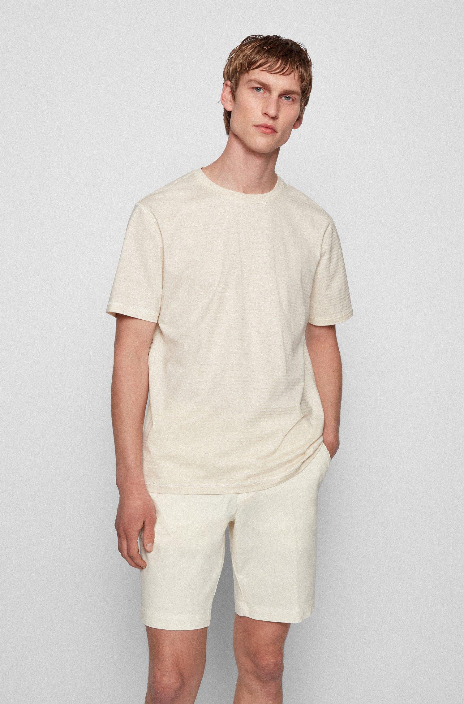 Striped T-shirt in organic cotton and hemp, Light Beige