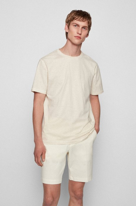 ストライプTシャツ オーガニックコットン/ヘンプ, ライトベージュ