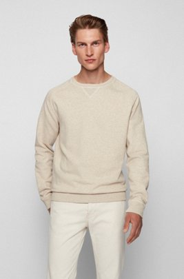 Sweatshirt in organic cotton and hemp with rear logo, Beige