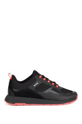 Mixed-material trainers with recycled performance fibre, Black
