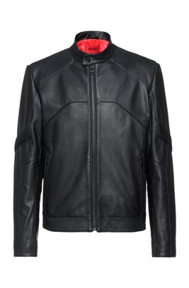 Slim-fit biker jacket in leather with perforated trims, Black