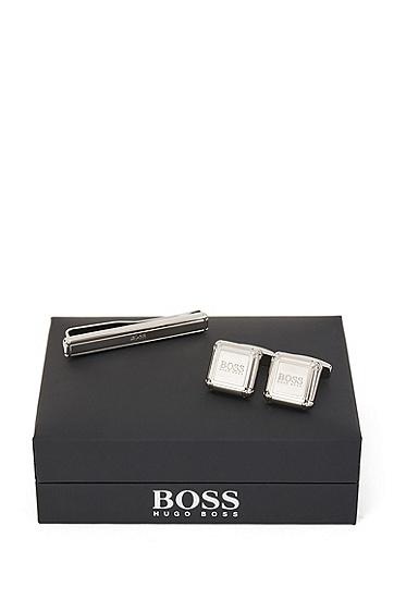 抛光金属徽标装饰领带夹和袖扣套装 ,  040_银灰色