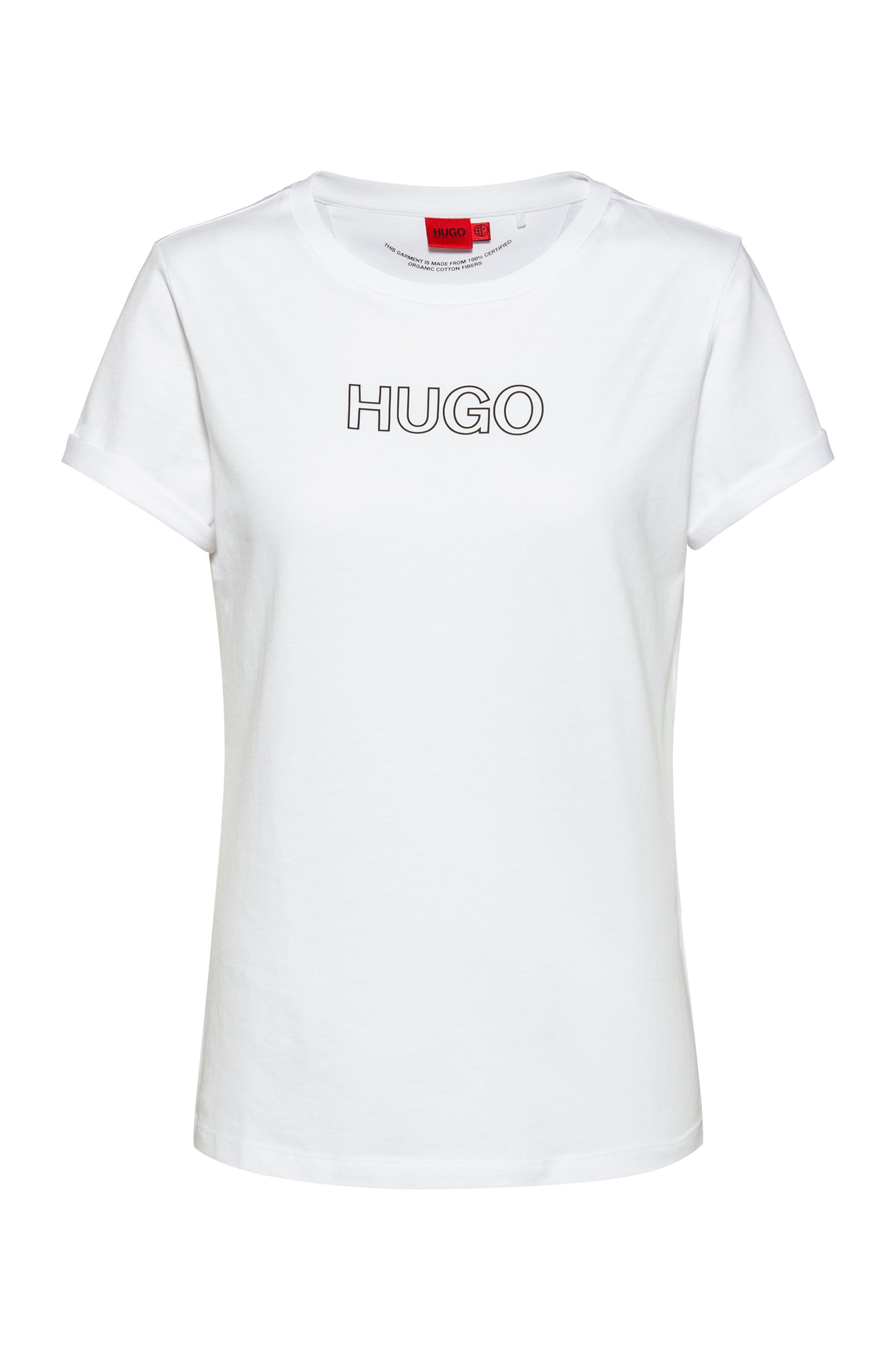 Slim-fit T-shirt in organic cotton with outline logo, White