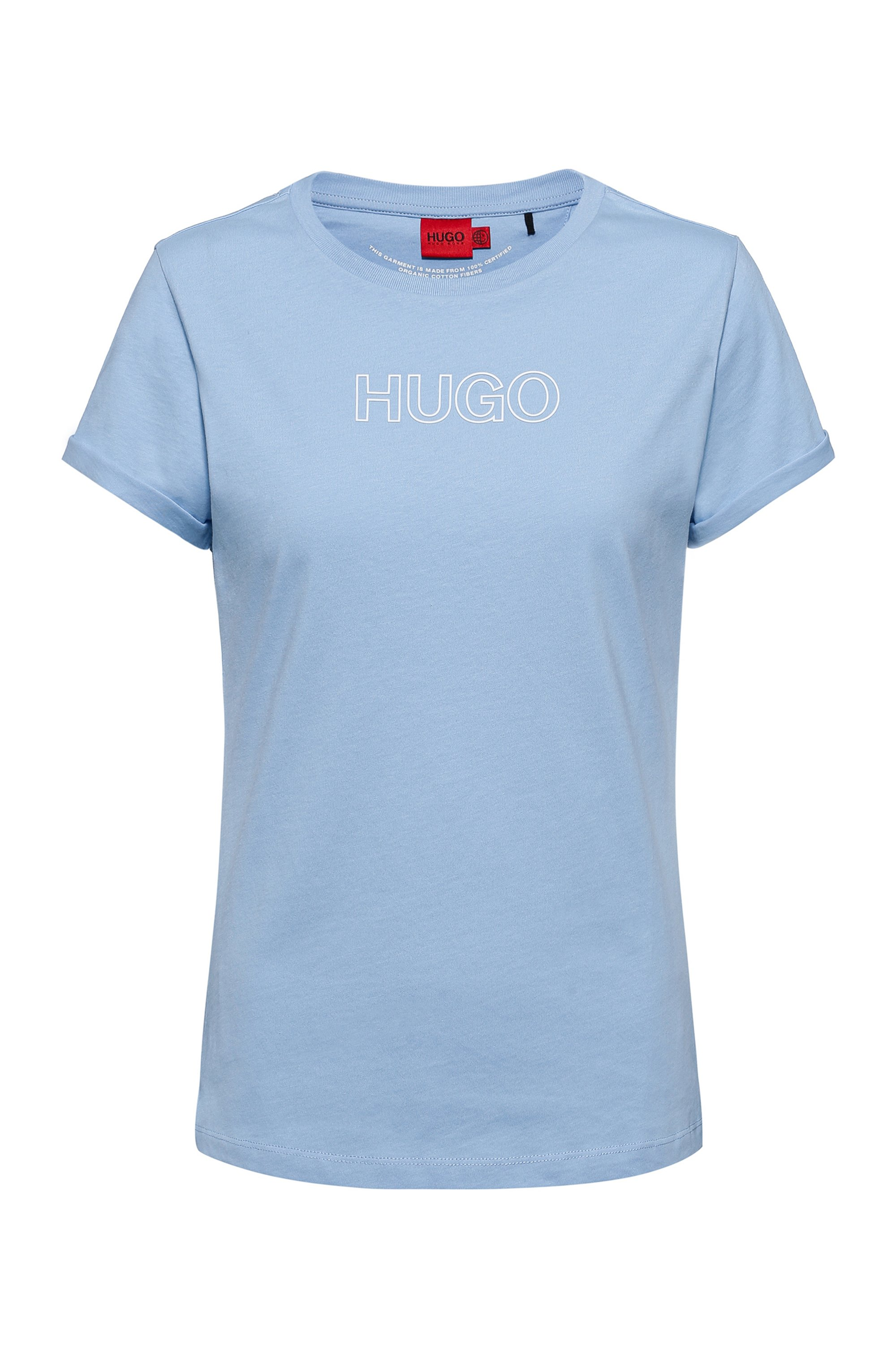 Slim-fit T-shirt in organic cotton with outline logo, Light Blue