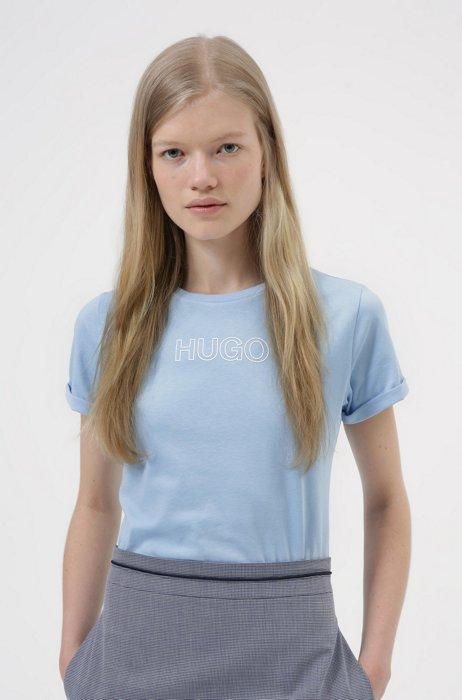 Slim-fit T-shirt van biologische katoen met contourlogo, Lichtblauw