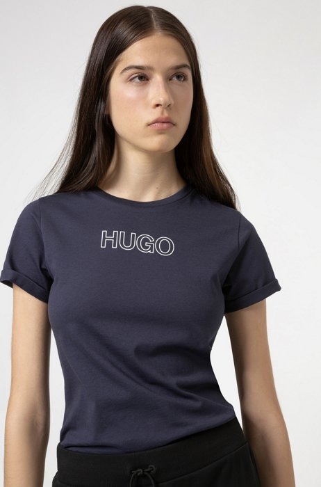 Slim-fit T-shirt in organic cotton with outline logo, Dark Blue