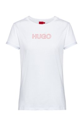 Slim-fit T-shirt in organic cotton with outline logo, Red