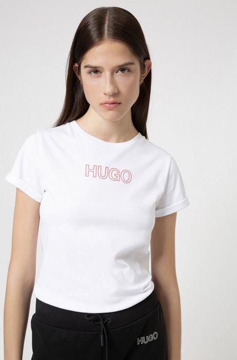 T-shirt Slim Fit en coton biologique à logo contouré, Blanc