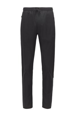 Regular-fit tracksuit bottoms with botanical print, Black