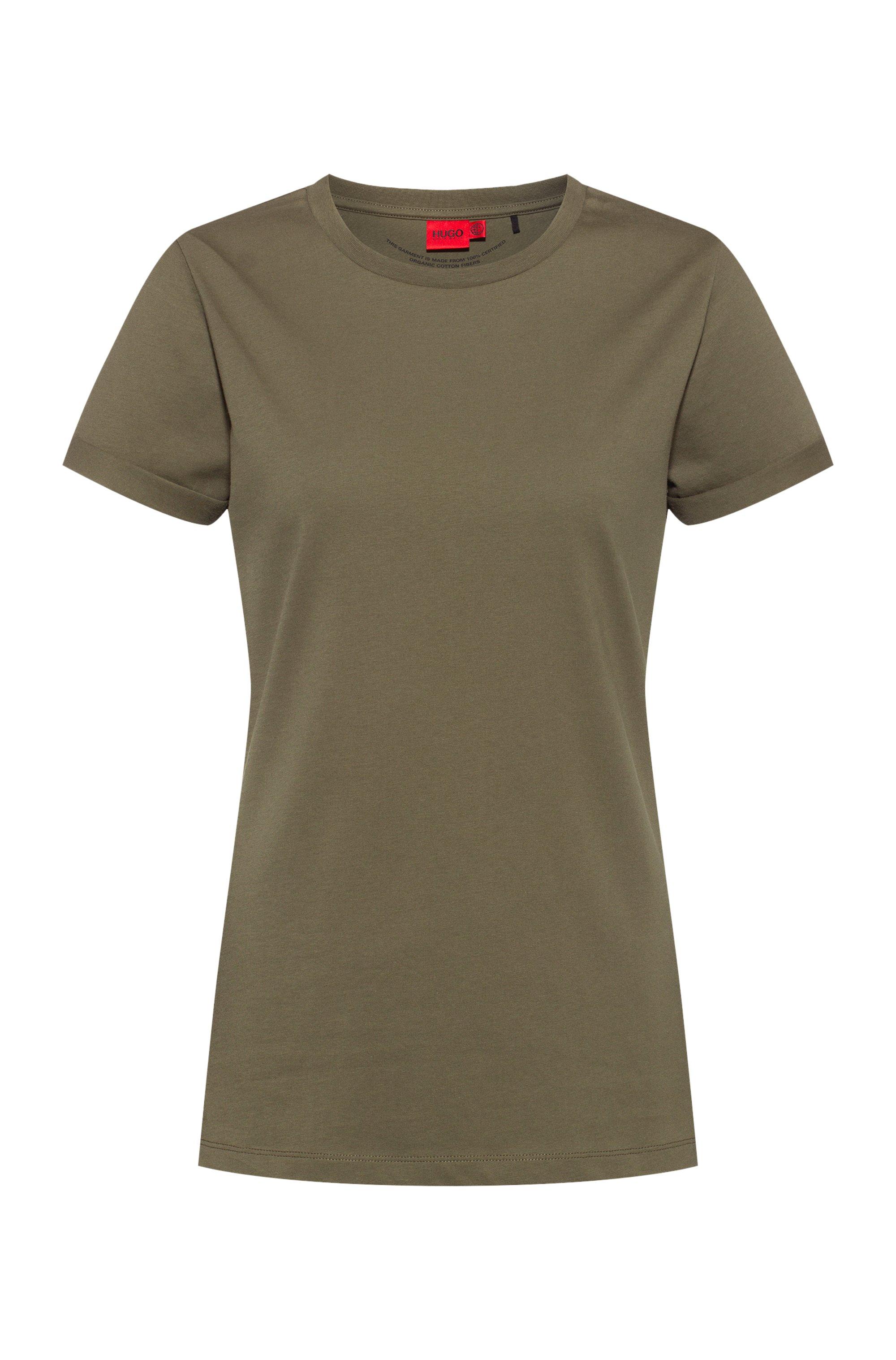 Slim-fit T-shirt in organic-cotton jersey, Khaki
