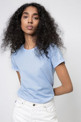 Slim-fit T-shirt in organic-cotton jersey, Light Blue
