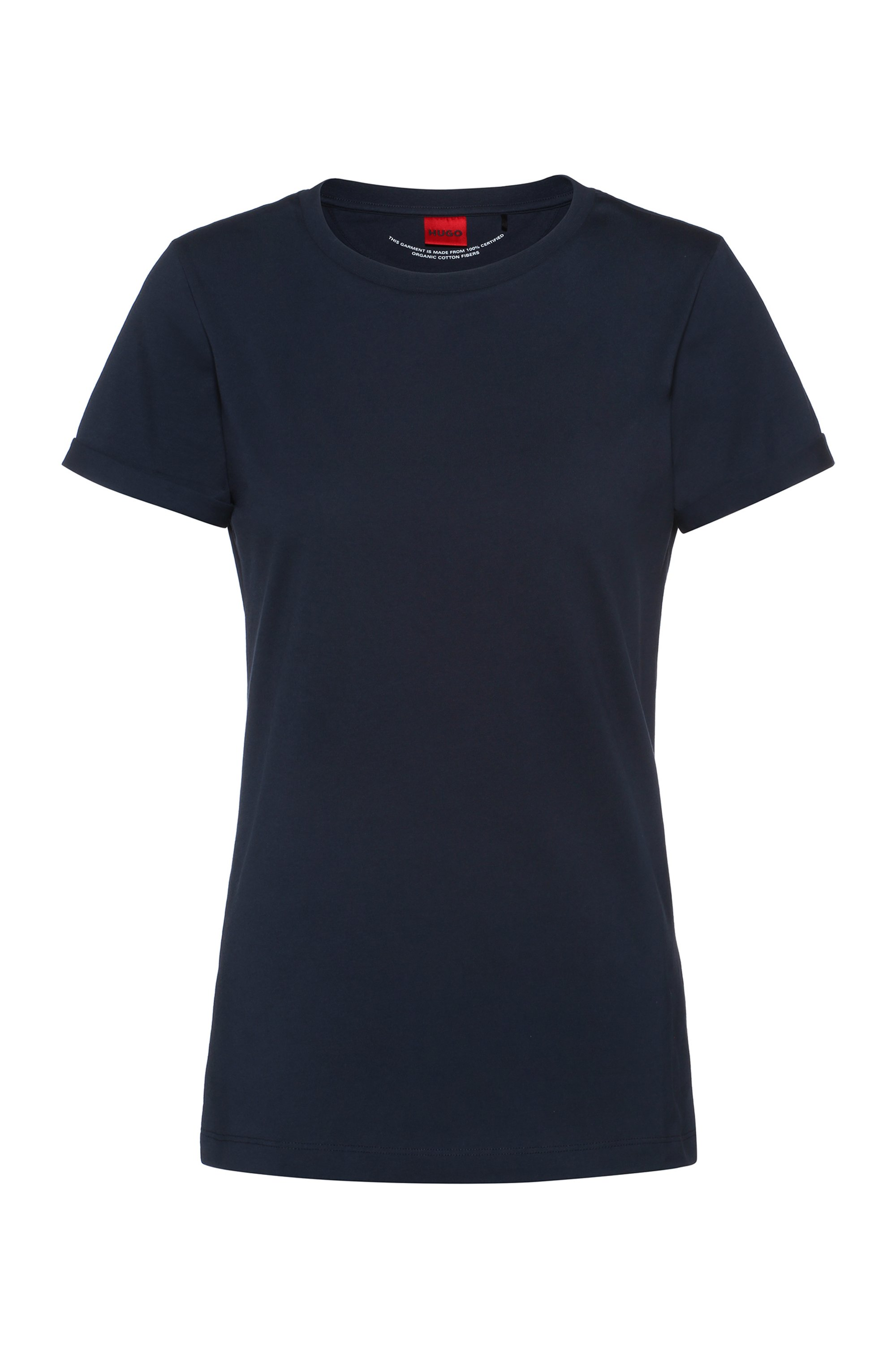 Slim-fit T-shirt in organic-cotton jersey, Dark Blue