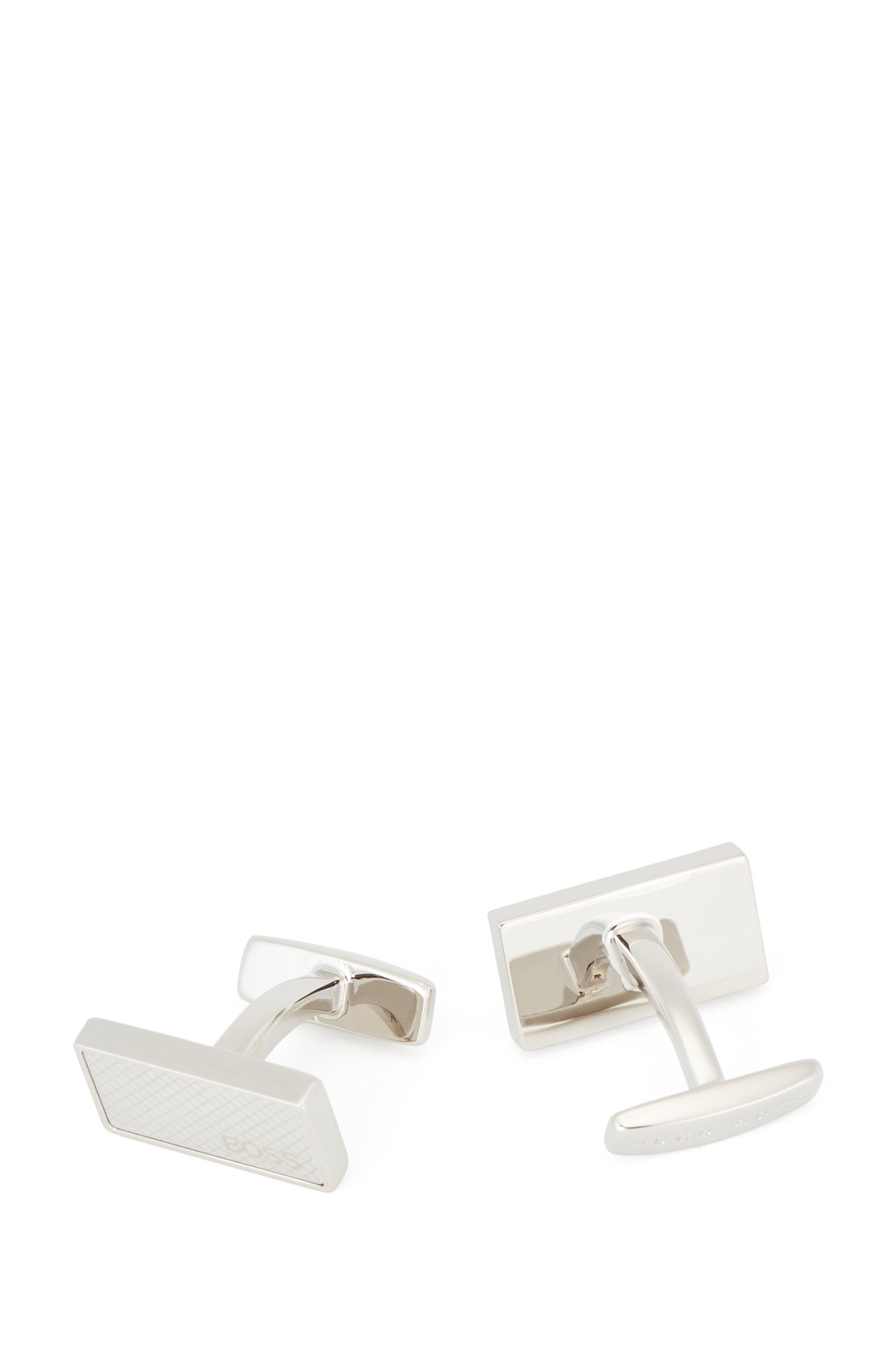 Rectangular metal cufflinks with etched pattern, Silver