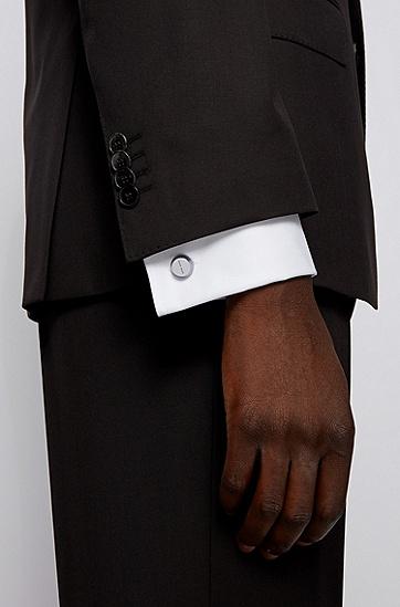 蚀刻图案长方形金属袖扣 ,  040_银灰色