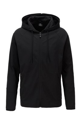 Zip-up hooded sweatshirt with rear botanical print, Black