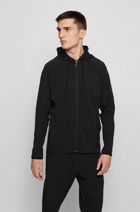 Zip-up hooded sweatshirt with rear botanical print, Black