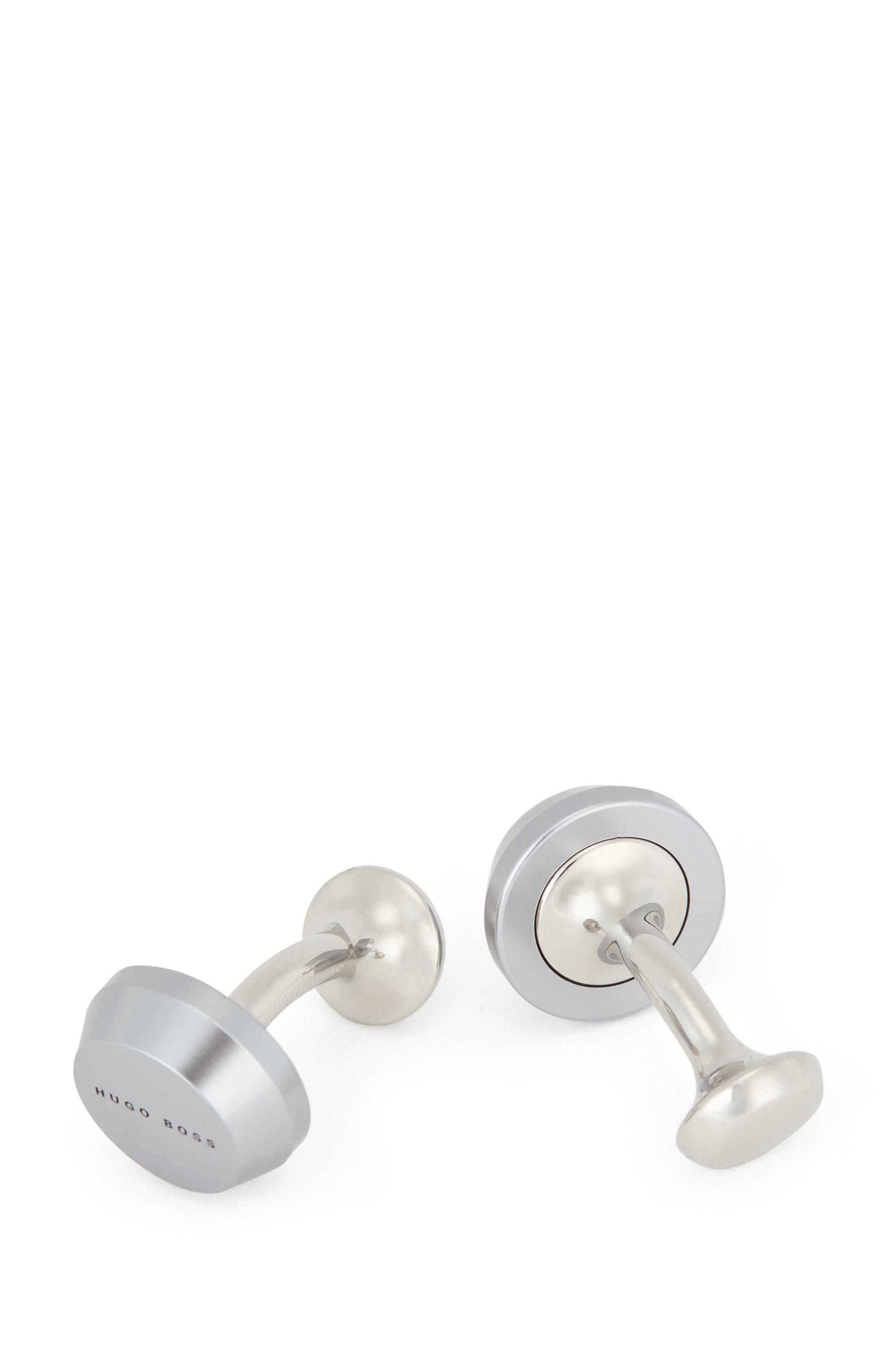 Round cufflinks with matte finish and engraved logo, Dark Grey