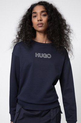 French-terry sweatshirt in organic cotton with 3D logo, Dark Blue