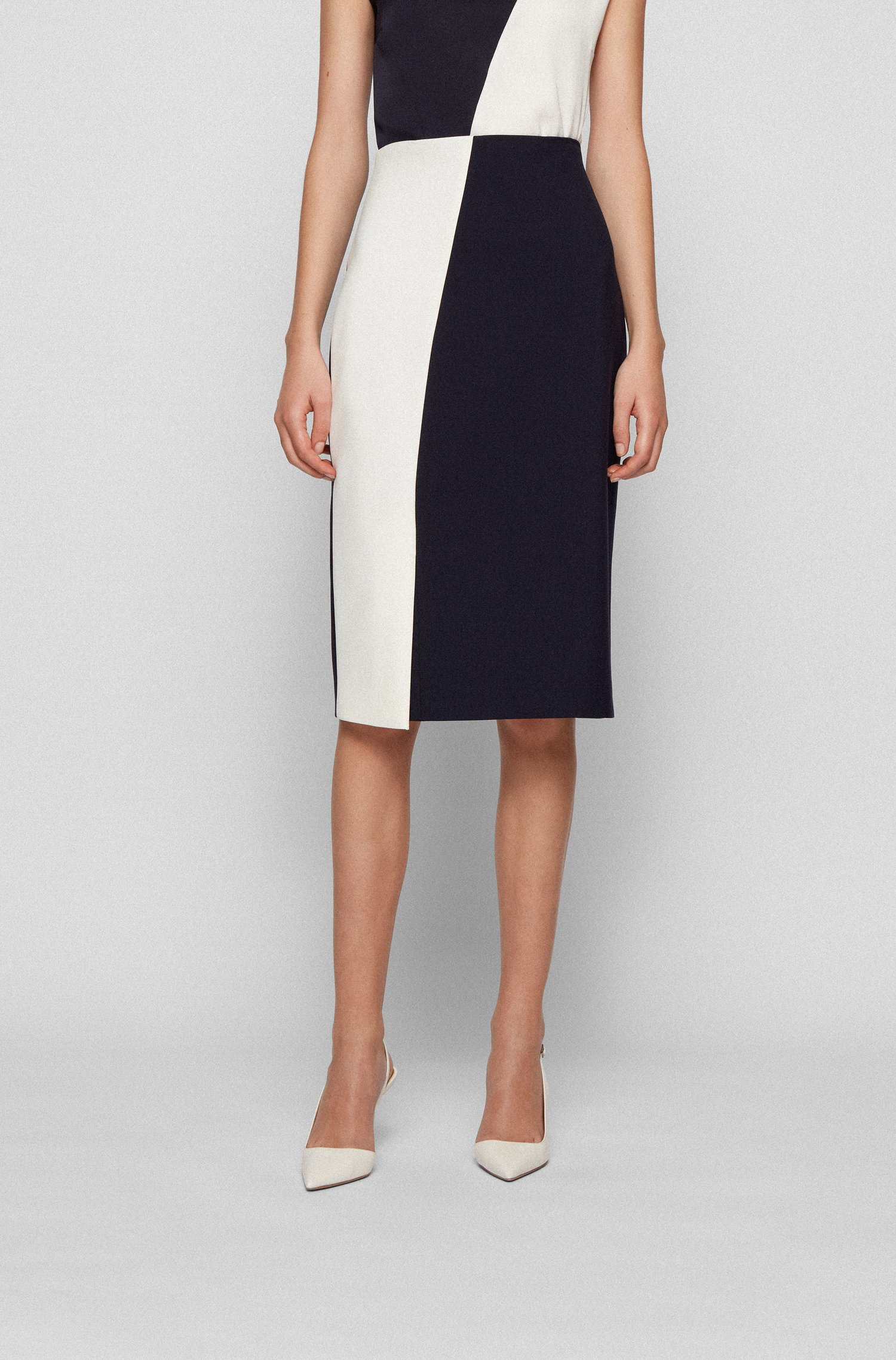 Pencil skirt in stretch fabric with colour-block front, Black