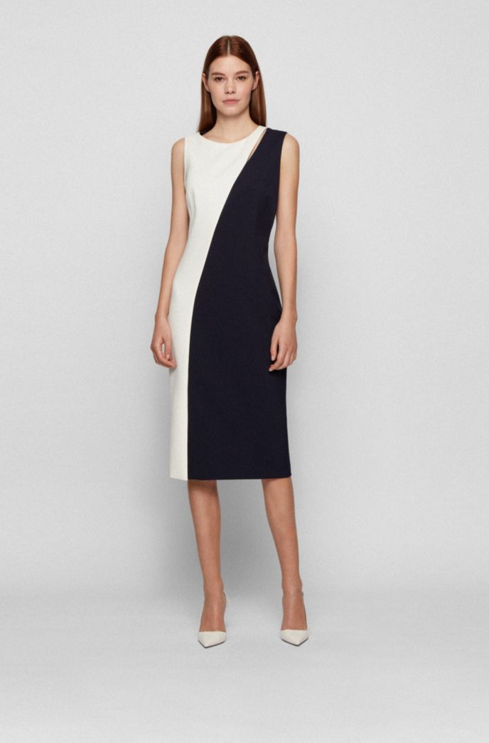 Cutout-detail shift dress in a colour-blocked style