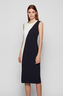 Cutout-detail shift dress in a colour-blocked style, Black / White /Blue