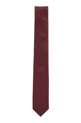 Hand-crafted tie in silk jacquard, Dark Red
