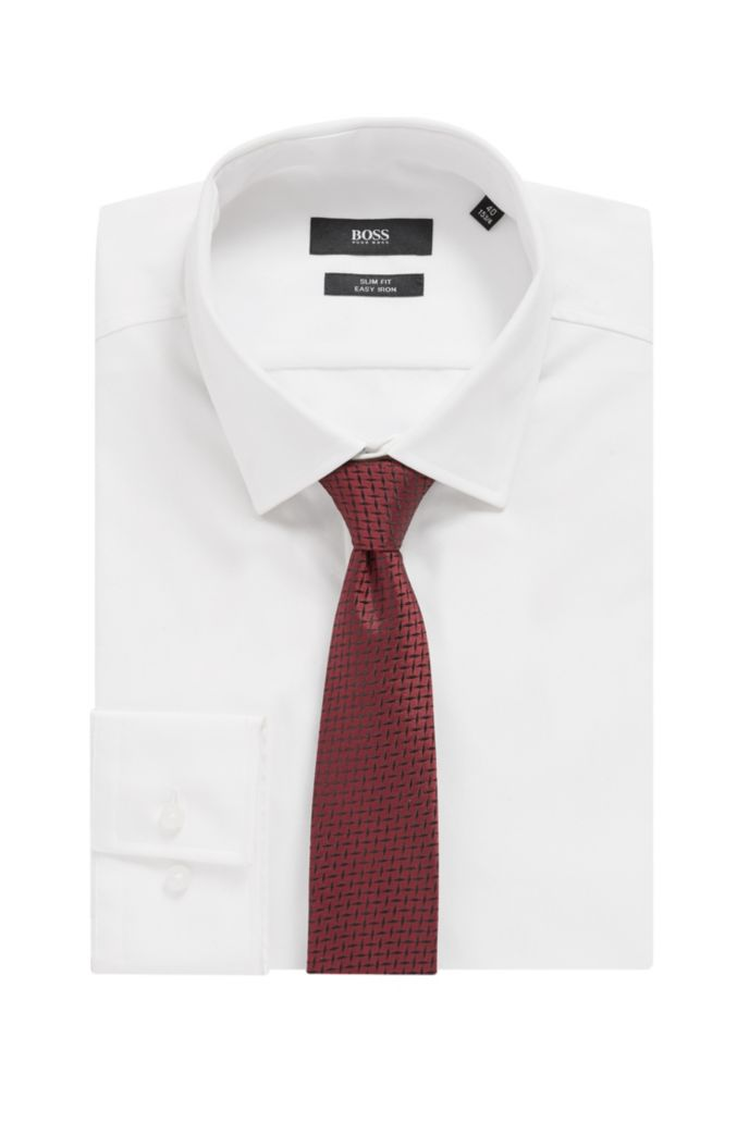 Hand-crafted tie in silk jacquard