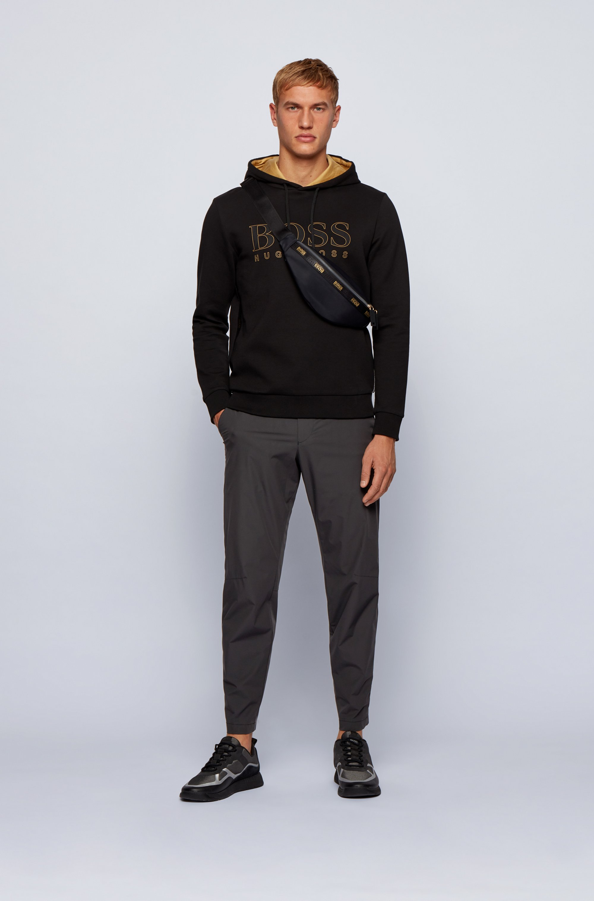 Slim-fit water-repellent trousers in stretch fabric