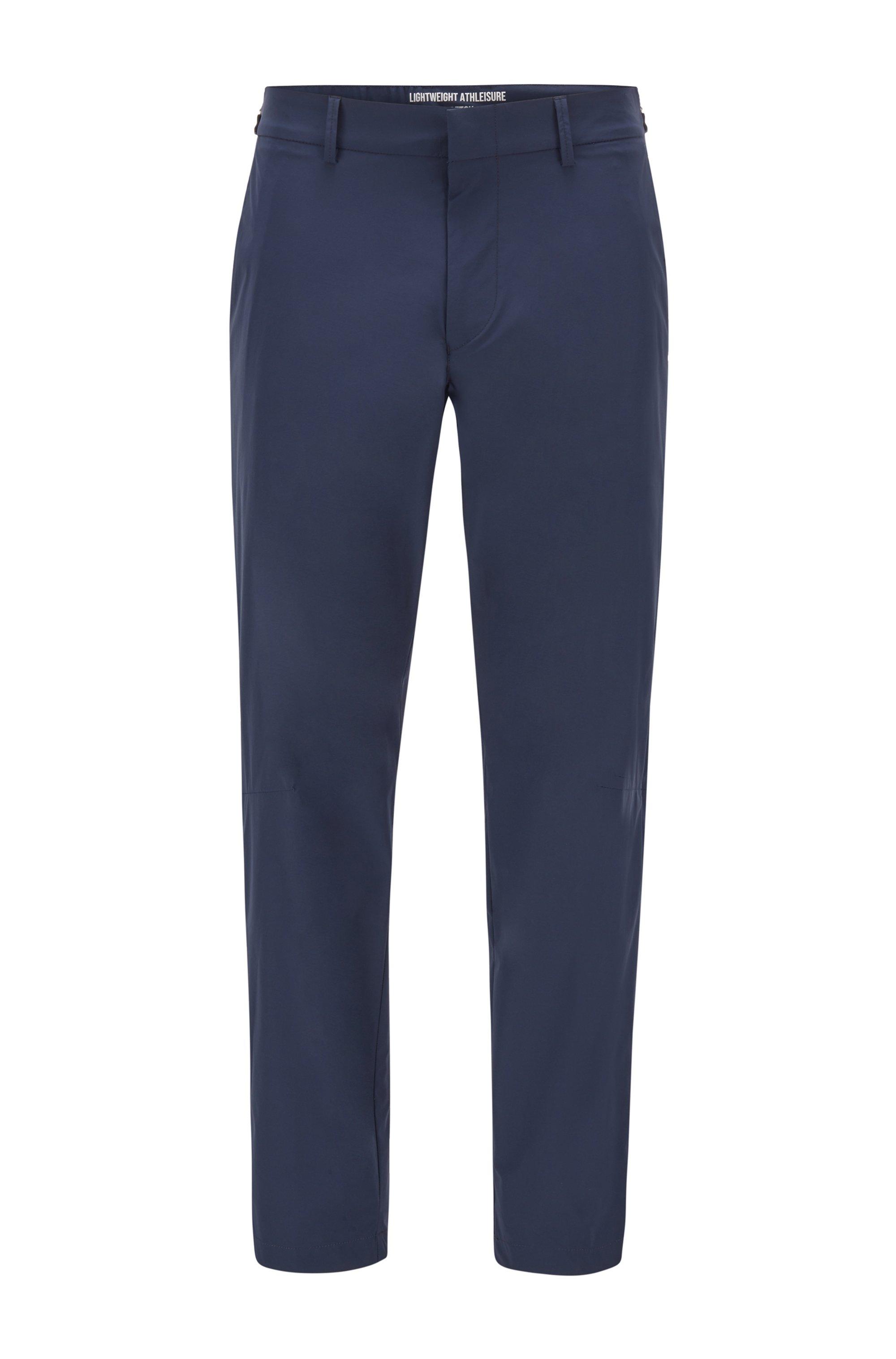 Pantalon Slim Fit en tissu stretch déperlant, Bleu foncé