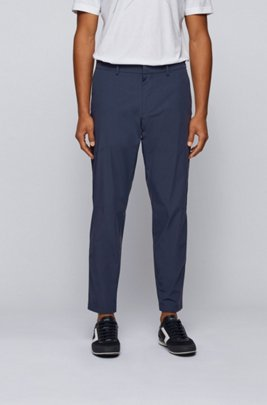 Slim-fit water-repellent trousers in stretch fabric, Dark Blue