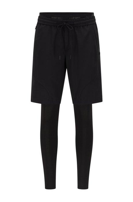 Hybrid running leggings and shorts, Black