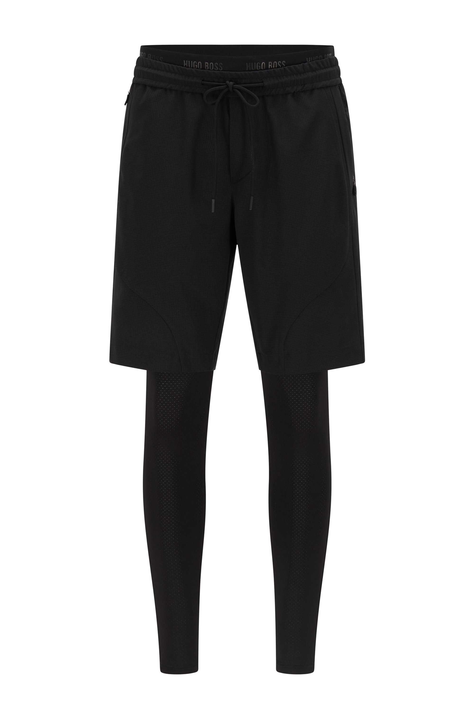 Hybrid running leggings and shorts, Black