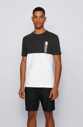 Colour-block logo T-shirt in stretch-cotton jersey, Black
