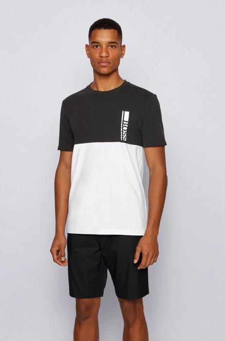 Colour-block logo T-shirt in stretch-cotton jersey, Black