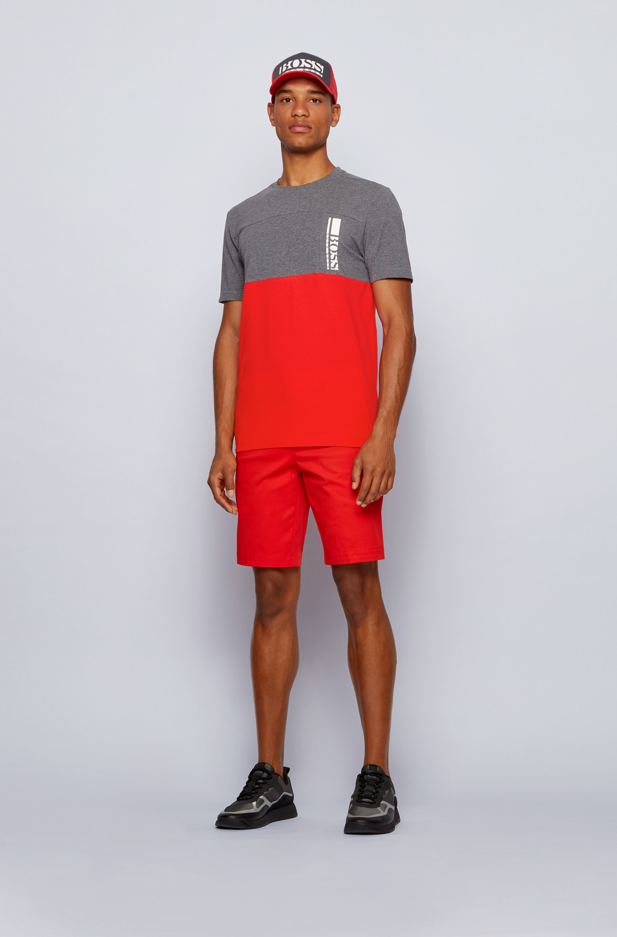 Colour-block logo T-shirt in stretch-cotton jersey