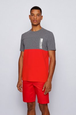 Colour-block logo T-shirt in stretch-cotton jersey, Grey