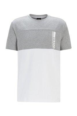 Colour-block logo T-shirt in stretch-cotton jersey, Light Grey