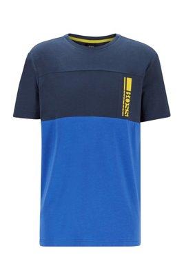T-shirt à logo color block en jersey de coton stretch, Bleu foncé