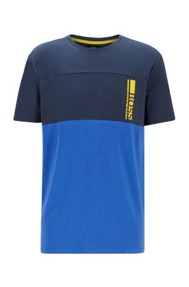 T-shirt à logo color block en jersey de coton stretch, Bleu foncé