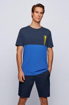 Colour-block logo T-shirt in stretch-cotton jersey, Dark Blue