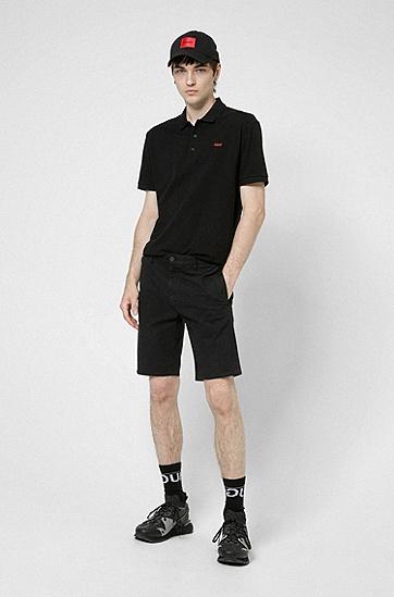 反向徽标刺绣图案棉质 Polo 衫,  001_Black