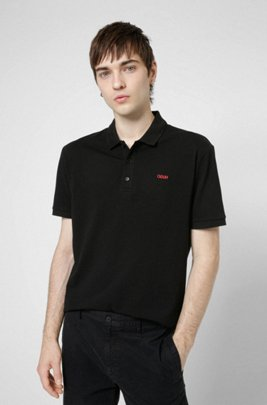 Cotton polo shirt with embroidered reversed logo, Black