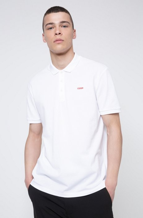 Cotton polo shirt with embroidered reversed logo, White