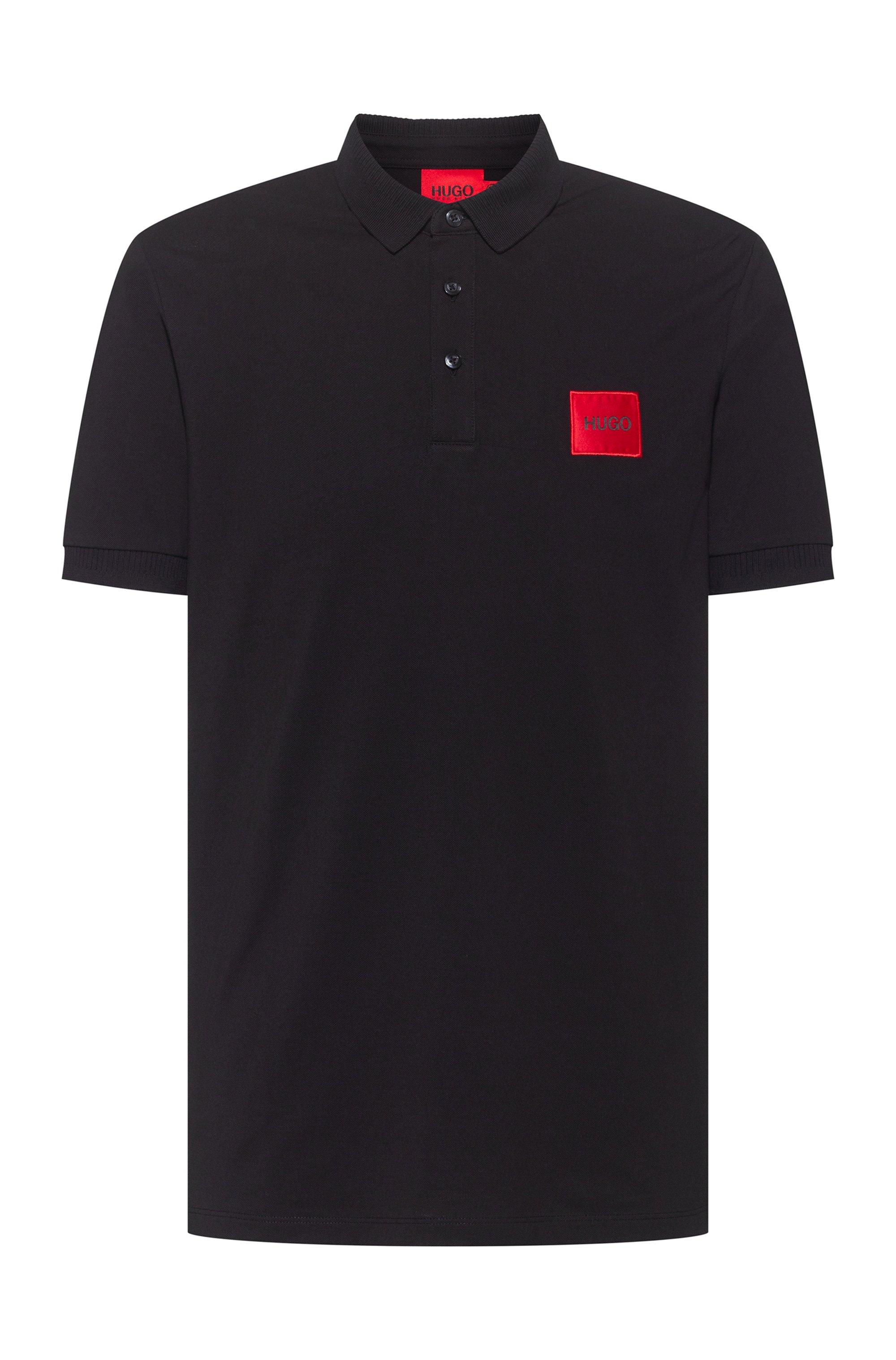 Polo Slim Fit en piqué de coton avec patch logo, Noir