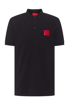 Poloshirt aus Baumwoll-Piqué mit Logo-Aufnäher, Schwarz