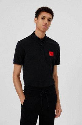 Slim-fit cotton-piqué polo shirt with logo patch, Black