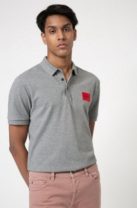 Slim-fit cotton-piqué polo shirt with logo patch, Grey