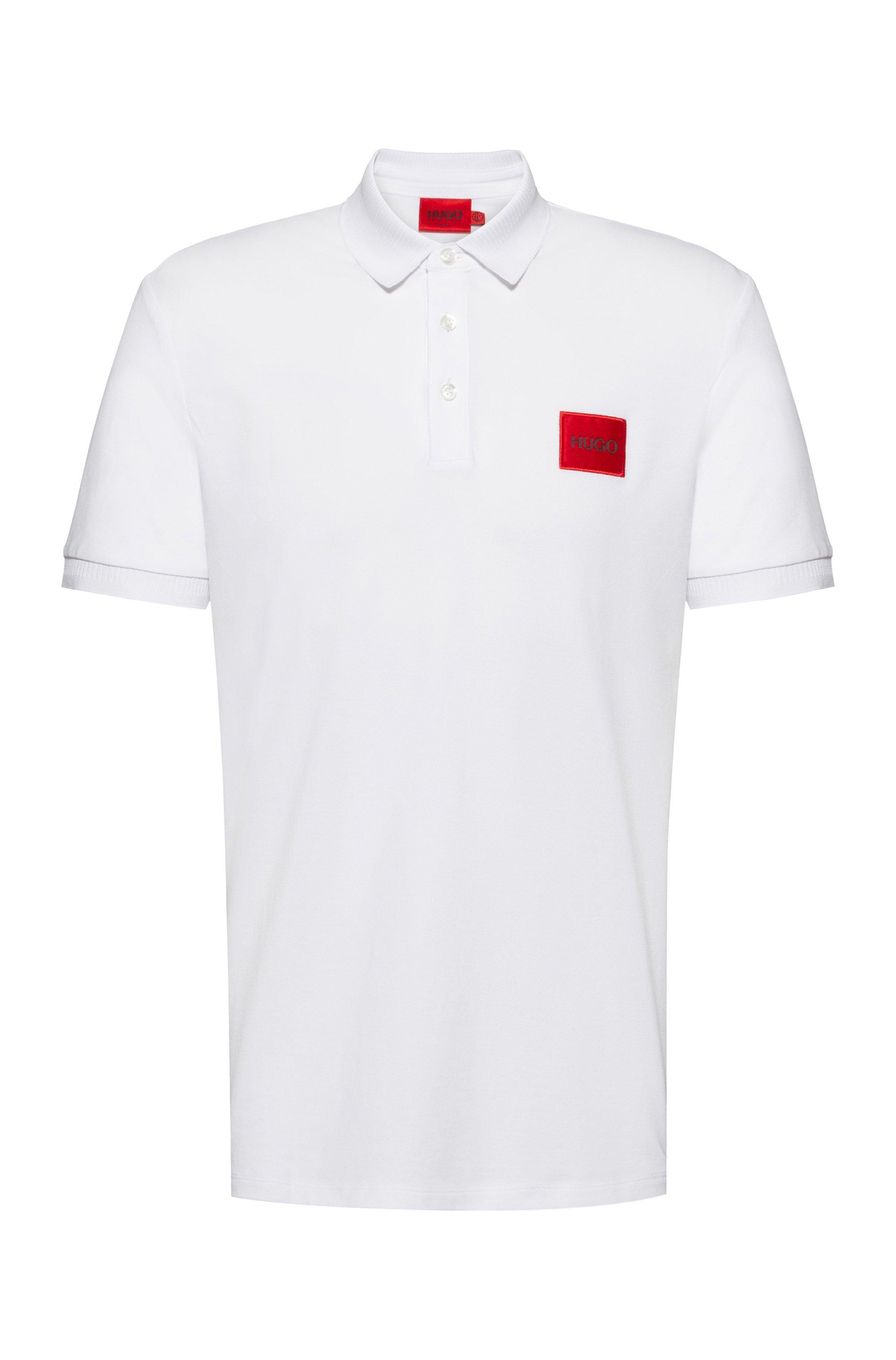 Polo Slim Fit en piqué de coton avec patch logo, Blanc