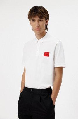 Slim-fit cotton-piqué polo shirt with logo patch, White